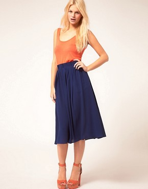Image 1 ofASOS Simple Full Skirt With Paperbag Waist