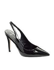 Mango Black Patent Slingback Heeled Shoes