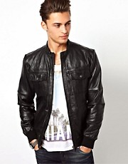 River Island Leather Collarless Jacket