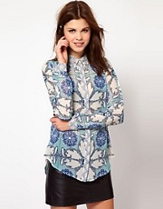 Warehouse Engineered Scarf Print Blouse