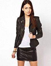 Muubaa Sharp Shouldered Leather Biker Jacket with Zips