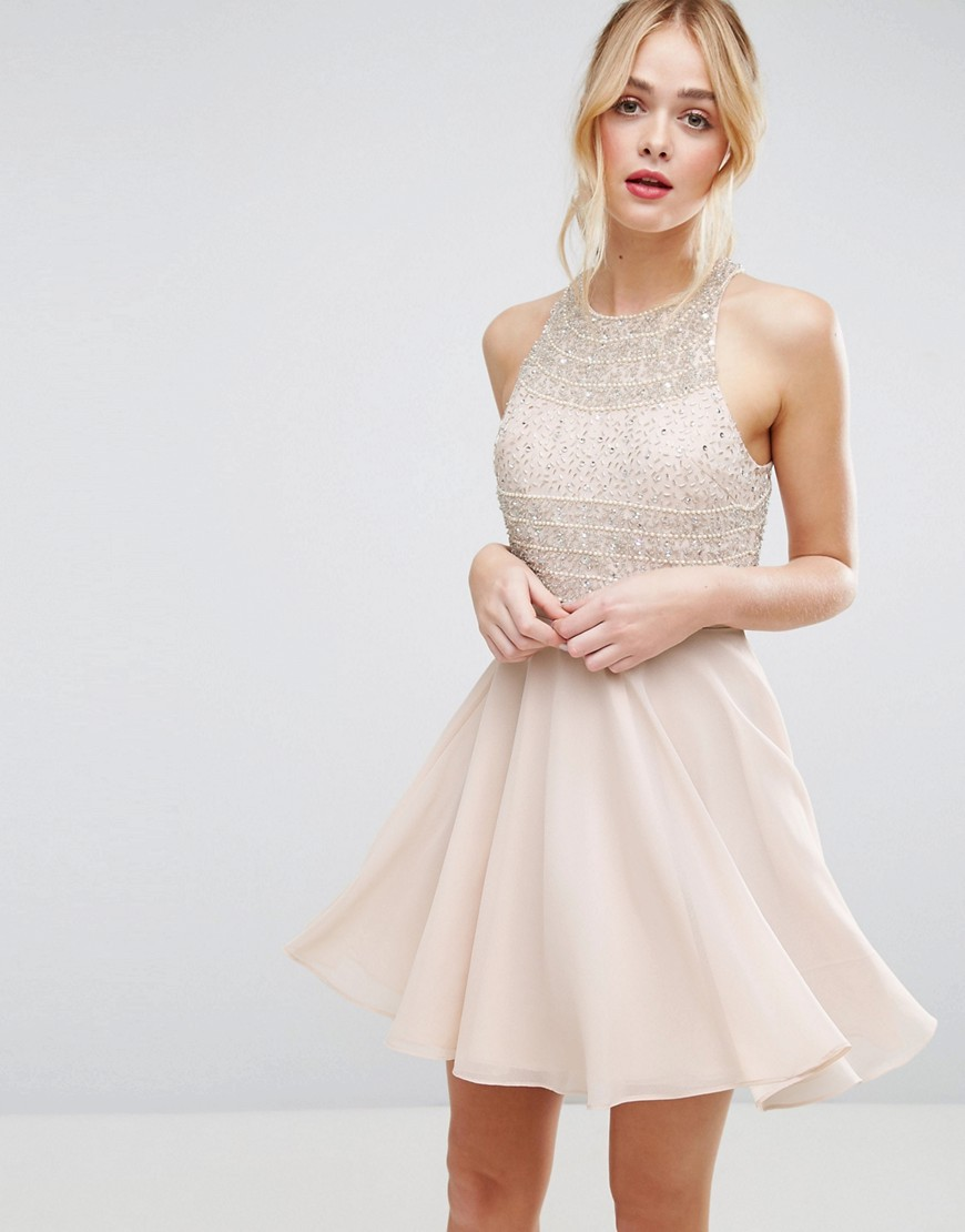 ASOS Embellished Crop Top Beaded Mini Dress
