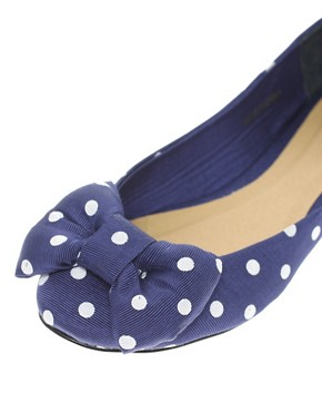 Image 2 ofASOS LILLE Ballet Flats with Bow In Polka Dot