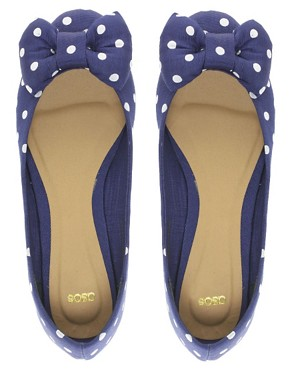 Image 3 ofASOS LILLE Ballet Flats with Bow In Polka Dot
