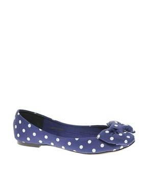 Image 1 ofASOS LILLE Ballet Flats with Bow In Polka Dot