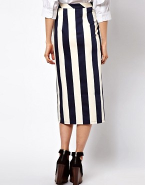 Image 2 of ASOS Vertical Stripe Skirt in Column Shape