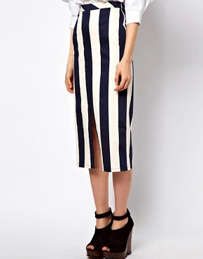 Image 4 of ASOS Vertical Stripe Skirt in Column Shape