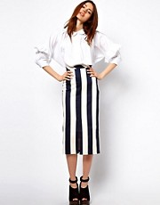 ASOS Vertical Stripe Skirt in Column Shape