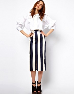 Image 1 of ASOS Vertical Stripe Skirt in Column Shape