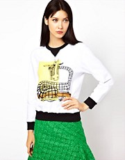 Ostwald Helgason Long Sleeved Sweater in Giraffe Print