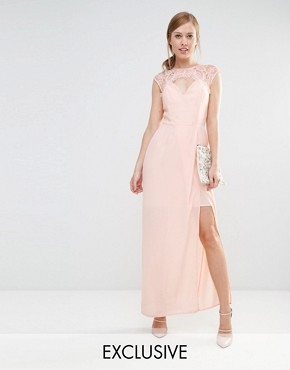 Elise Ryan Sweetheart Maxi Dress With Eyelash Lace Trim
