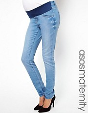 ASOS Maternity Elgin Skinny Jean in True Blue Mid Wash