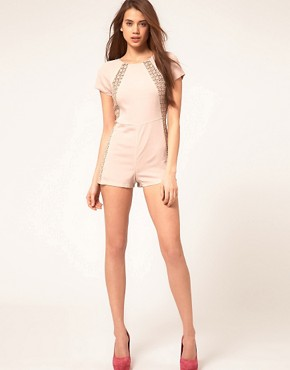 Image 4 ofASOS PETITE Exclusive Premium Lace Insert Playsuit