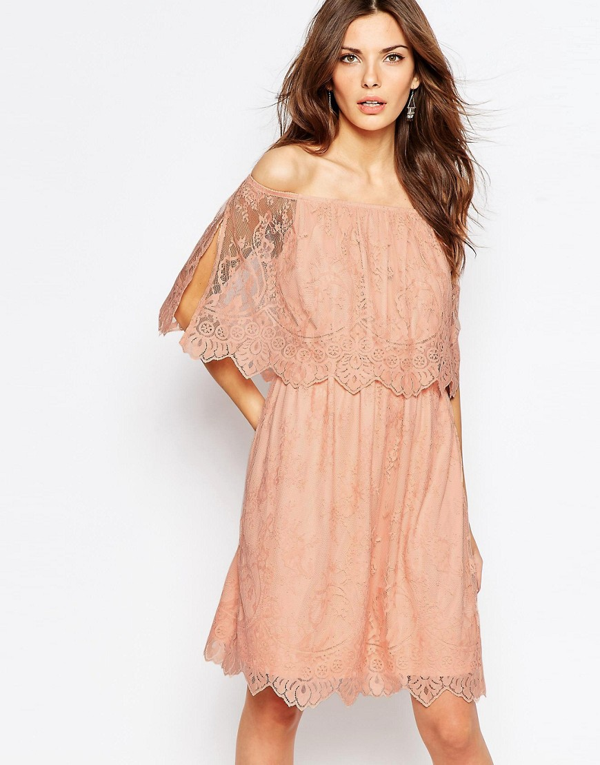 Vila Lace Bardot Double Layer Dress - Pink