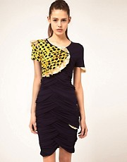 Danielle Scutt Dress With Lam &amp; Polka Trim