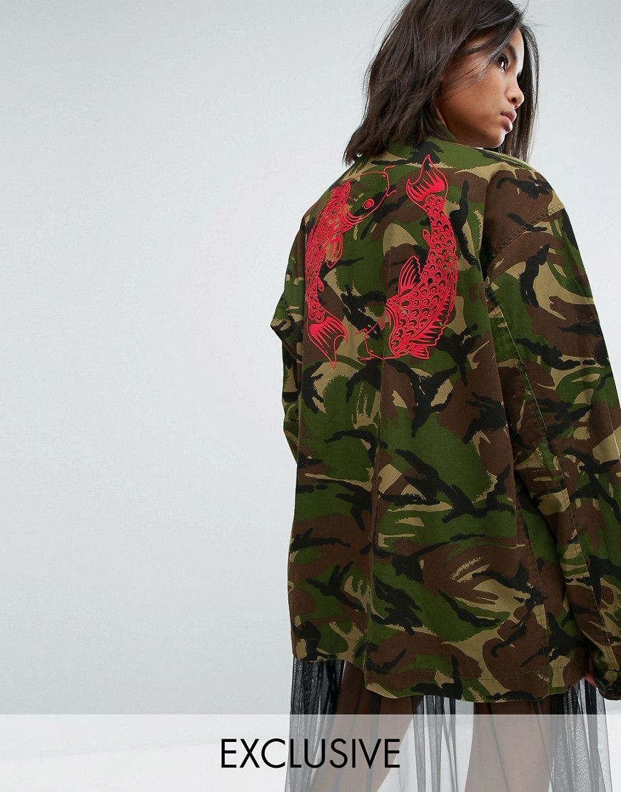 Milk It Vintage Camo Jacket With Back Print - Khaki
