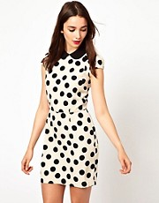 A Wear Spotty Mini Dress With Contrast Collar