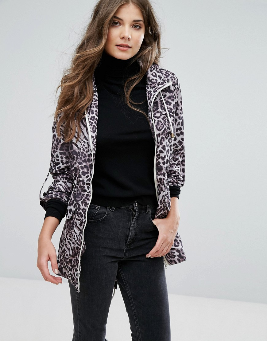 Brave Soul Animal Print Festival Trench - Gray