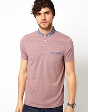 ASOS Polo With Chambray Collar