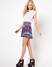 River Island Aztec Printed Skater Skirt