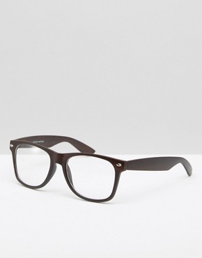 Jeepers Peepers Black Square Clear Lens Glasses