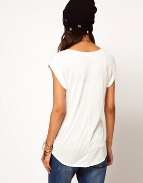 Image 2 ofASOS PETITE Exclusive Dip Back T-Shirt With Skull Print