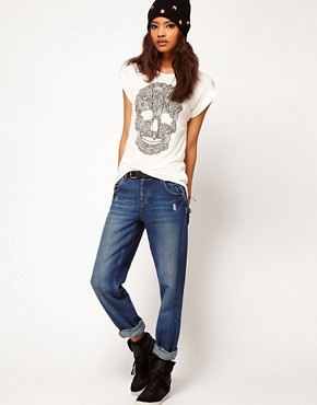 Image 4 ofASOS PETITE Exclusive Dip Back T-Shirt With Skull Print