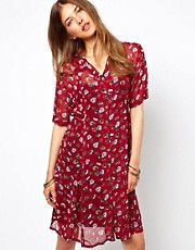 Ganni Tie Waist Shirt Dress in Pansy Print