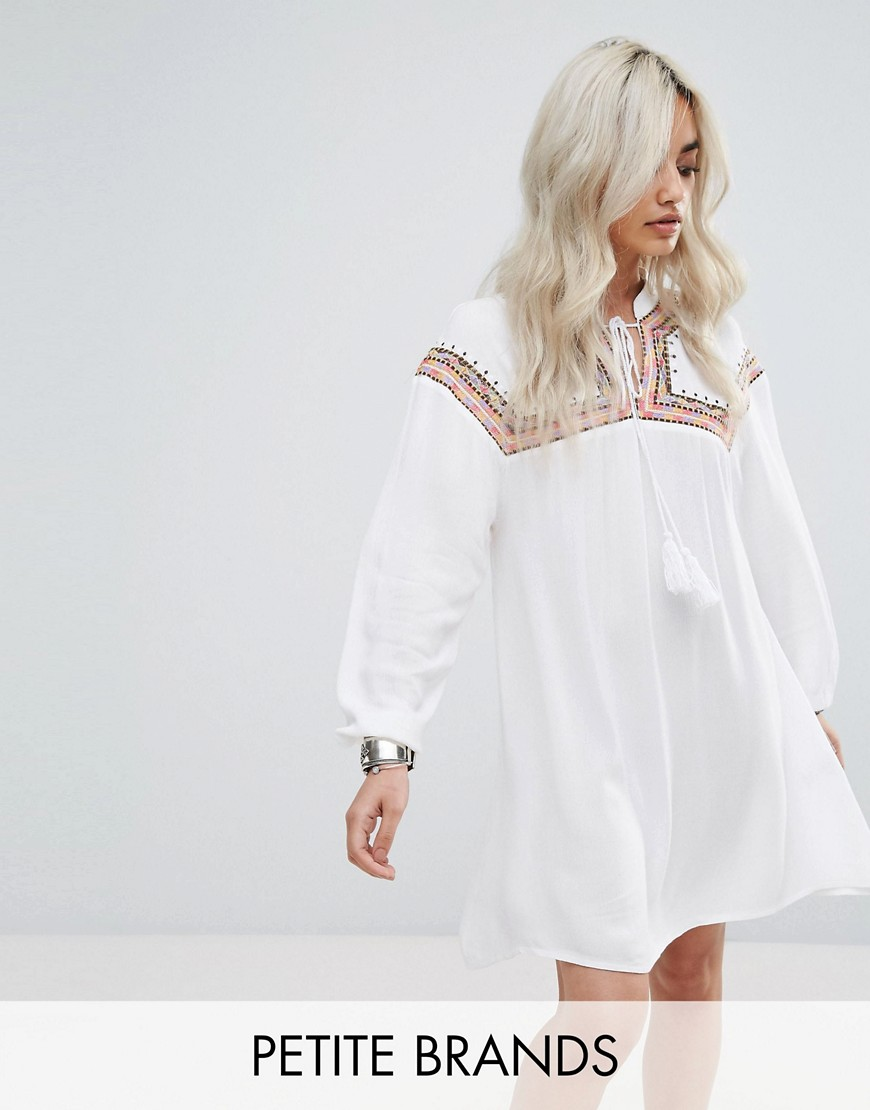 Missguided Petite Embroidered Cheesecloth Smock Dress - White