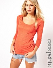 ASOS PETITE T-Shirt With Long Sleeves And Scoop Neck