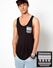 ASOS Tank With Speckle Fabric And Aztec Pocket