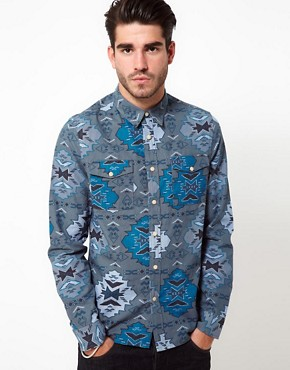 Image 1 ofASOS Chambray Shirt With Aztec Print