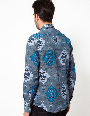 Image 2 ofASOS Chambray Shirt With Aztec Print