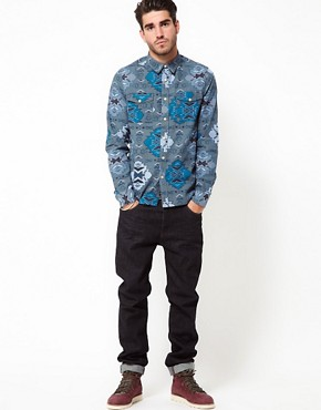 Image 4 ofASOS Chambray Shirt With Aztec Print