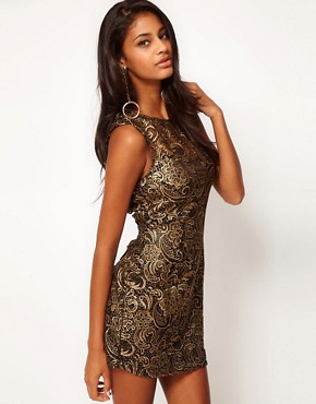 Image 1 ofLipsy Lace Dress With Metallic Print