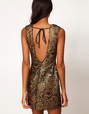Image 2 ofLipsy Lace Dress With Metallic Print