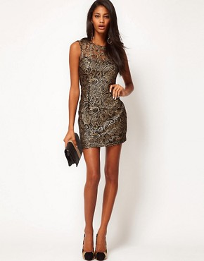 Image 4 ofLipsy Lace Dress With Metallic Print