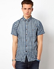 Solid Gingham Shirt With Short Sleeves