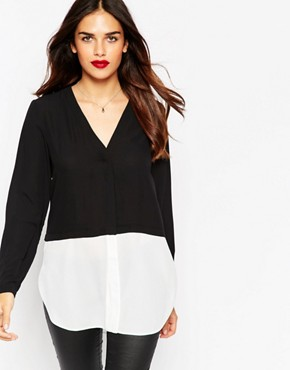 ASOS V Neck Mono Colour Block Blouse