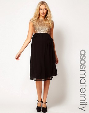 Image 1 ofASOS Maternity Midi Dress In Sequin And Chiffon