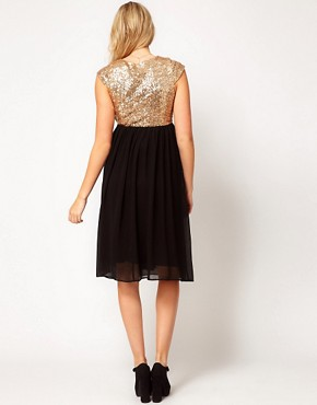 Image 2 ofASOS Maternity Midi Dress In Sequin And Chiffon
