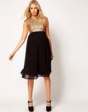 Image 4 ofASOS Maternity Midi Dress In Sequin And Chiffon