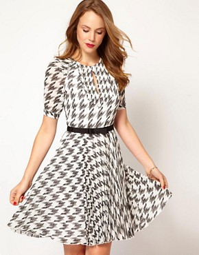 Image 1 ofKaren Millen Checked Dress with Pleated Skirt