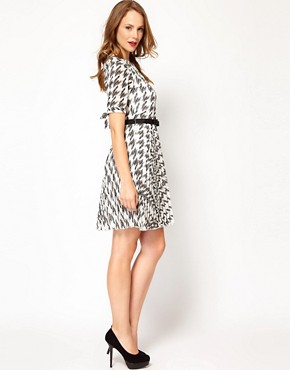 Image 4 ofKaren Millen Checked Dress with Pleated Skirt
