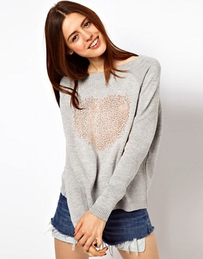 Image 1 ofASOS Studded Heart Jumper