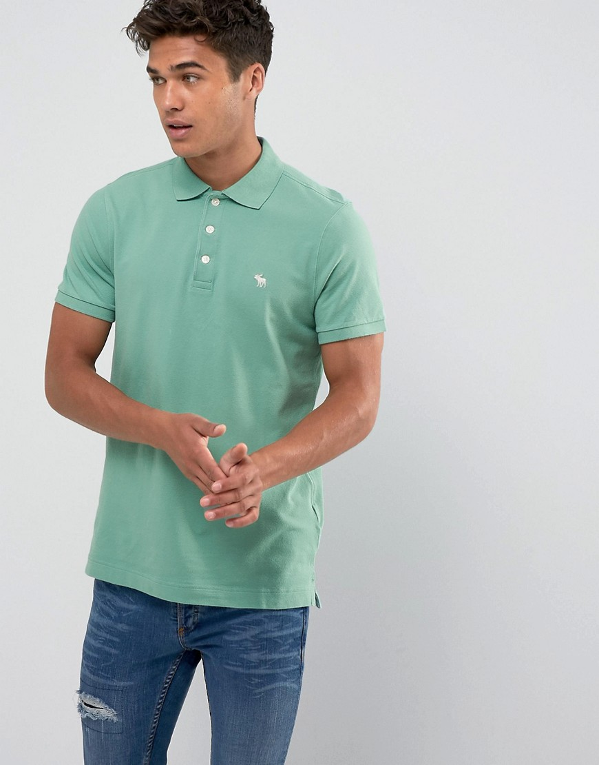 Abercrombie & Fitch Polo Muscle Slim Fit Stretch Pique in Pine Green - Ponderosa pine