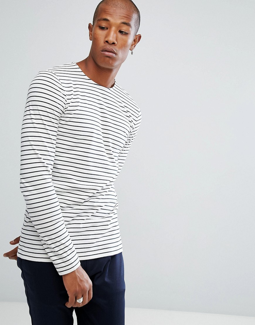 Minimum Striped Long Sleeve T-Shirt - Cream