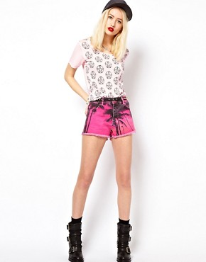 Image 1 of Voodoo Girl Palm Tree Print Denim Shorts