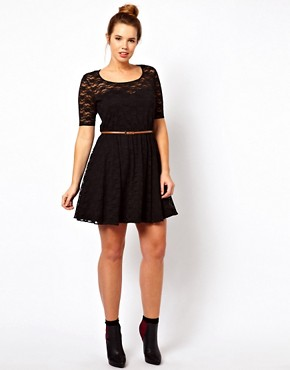 Image 4 ofASOS CURVE Lace Skater Dress With Belt