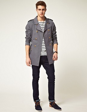 Image 4 ofASOS Grey Trench Coat